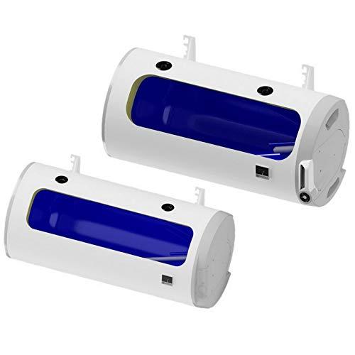 Kombispeicher, elektrischer wandhängender Warmwasserspeicher Boiler HORIZONTALE waagerechte Montage mit 1 Wärmetauscher und 2,2 kW VERSCHLEIßFREIEN KERAMIKHEIZSTAB inkl. Sicherheitsventil