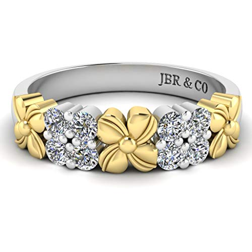 Jbr Two Tone Flower Round Cut Diamonds Sterling Silver Women's Band Stacking Band Promise Anniversary Ring For Her