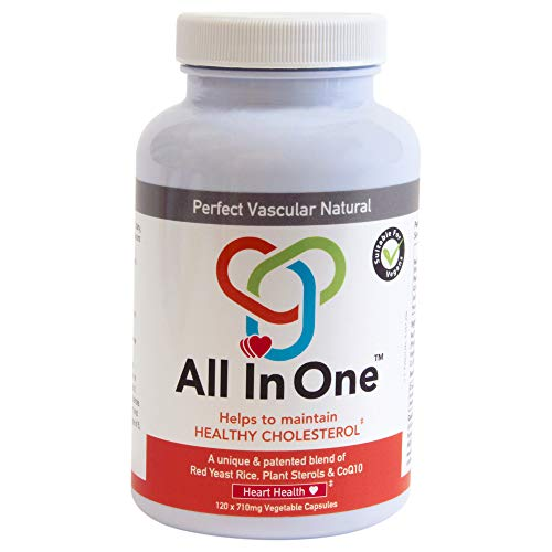 All in One Heart Health Dietary Supplement Capsules All-Natural Pharmaceutical-Grade Statin-Alternative, Controls Cholesterol Patented Formula, CoQ10 Combination - 120 Count, 300 g