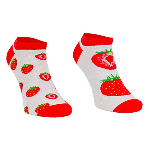 Comodo - lustige Motivsocken Damen und Herren aus Baumwolle mit Erdbeer Motiv|Kurze Sneaker mit witzigem Muster|Bunte Funny Socks|unterschiedlich farbige Socken SKS gr 39-42 002 3 Paar kurz Erdbeeren