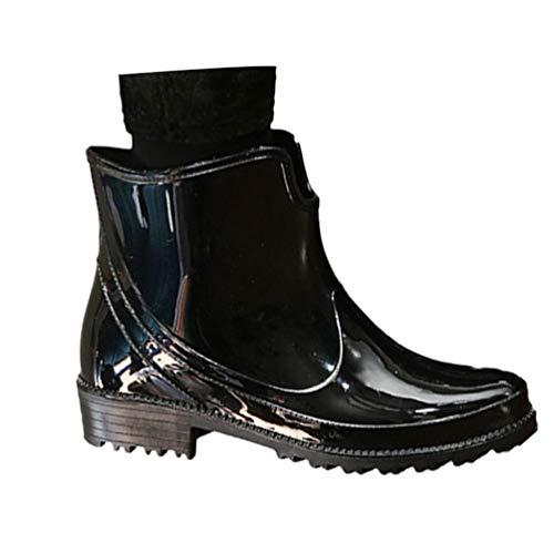 YOUJIA Damen Regenstiefel | Wasserdicht | Slip On Gummistiefel Schnee Regen Booties (Schwarz #Warme Futter, CN 40)