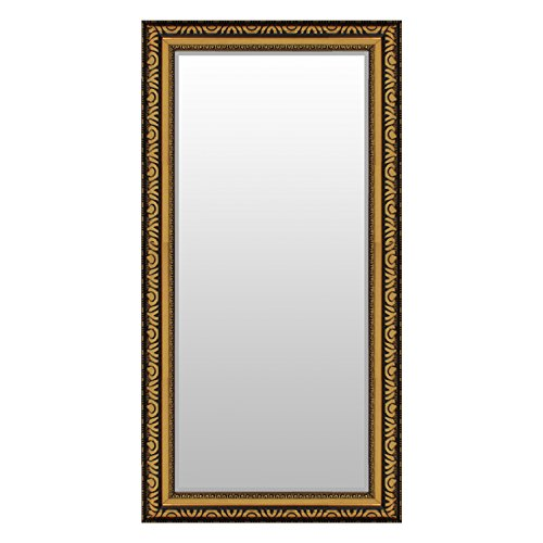 Multistore 2002 Prachtvoller Wandspiegel Flurspiegel Garderobenspiegel Frisierspiegel Spiegel mit Facettenschliff und Verzierungen 104x53cm Gold