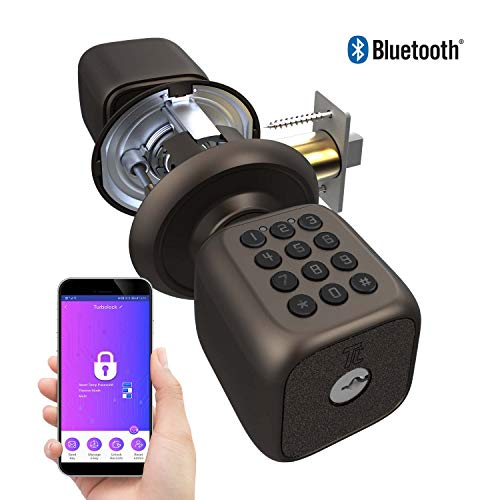 TURBOLOCK TL-111 PRO Smart Door Lock | Send eKeys w/App | Keypad Door Knob-Styled Keyless Entry | Digital Security w/Backup Keys & Emergency Power Port (Bronze)