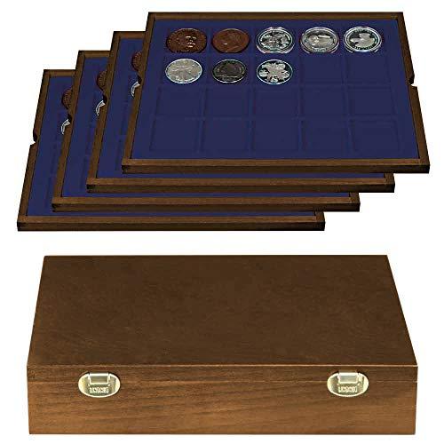 LINDNER Das Original Echtholz Münzkassette mit 4 blauen Tableaus für 80 Münzen/Münzkapseln bis Ø 47 mm