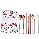 NEWRX Picknick Besteck Set 9pcs Gabel, Löffel, Messer-Set Besteck Edelstahl Geschirr mentales Stroh Einhorn Flamingo Nashorn Reise-Stoff-Tasche Stäbchen (Color : Flamingos Rose Gold)