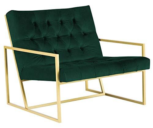 Belle Fierté Chesterfield-Sessel aus Samt, mit Metallsockel, handgefertigt, aus Stoff, leicht zu reinigen, Smaragdgrün