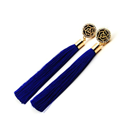 Royal Blue Tassel Earrings with Gold Rose and Diamante Feature UK