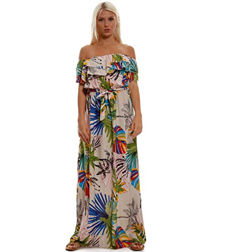 Young-Fashion Damen Maxikleid Carmen Ausschnitt Kleid Lang, Farbe:Beige Model 1;Größe:S-M
