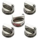 Kitchen Basics 101 5 Pack Burner Stove Knobs Compatible with LG Range, 1 Knob of EBZ37189609, 4 Knobs of...