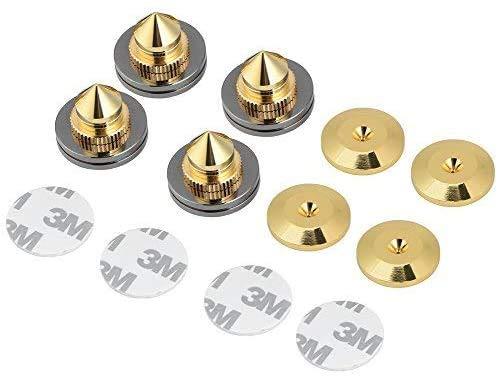 SAGULU インシュレーター スパイク 金属製 スパイクベース スパイク受け 高さ 調整可能 スピーカー用 オーディオ 音響 音質 向上改善 4個セット 金色
