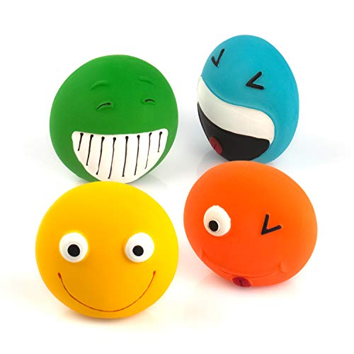 Chiwava 4 Pack 3.2'' Latex Squeaky Dog Toy Smiley Face Balls Interactive Fetch Play for Small Dogs