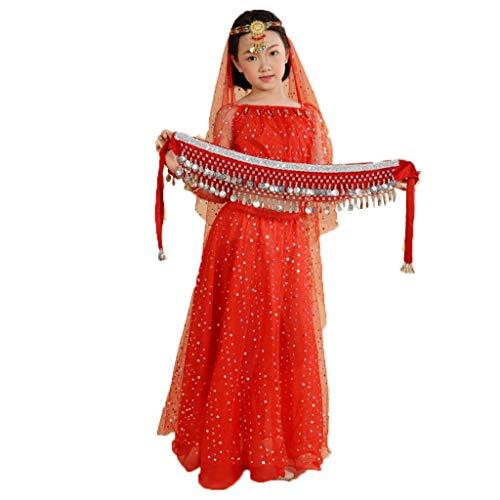 Vestidos de Baile de Ballet Traje de Danza del Vientre for niña Vestido de espectáculo de Danza Traje Indio Traje de Danza del Vientre ( Color : Rose Red , Size : Small Size (100 cm - 125) )