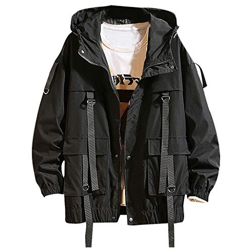 MAYOGO Herren Winterjacke Übergangsjacke Regenjacken Freizeit Jacke Full-Zip Softshell Jacke College Jacke mit Kapuze, Schwarz,XXL
