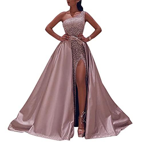 Onsoyours Damen Spitze Off Shoulder Plissee Kurzarm Schlitz Elegante Maxikleid Partykleid Abendkleid C Rosa XS