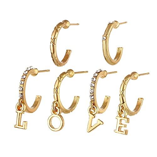 FEARRIN Pendientes de Moda Inusual Estrella Luna Pendientes de Cristal encantos corazón Cruz Pluma Pendientes geométricos para Mujeres Hombre niñas joyería H77-ZL1753