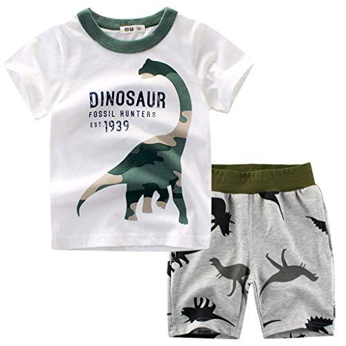 1-7years,SO-buts Niños Verano Chándal Ropa De Dormir Dinosaurio De Dibujos Animados Camiseta De Camuflaje Tops Pantalones Cortos Conjunto De Trajes (Blanco,18-24 meses)