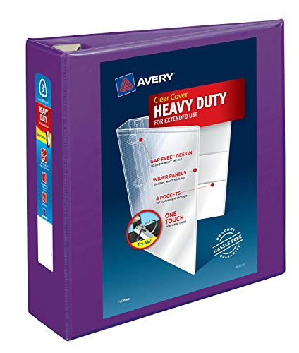 Avery Heavy-Duty View 3 Ring Binder, 3 One Touch EZD Rings, 1 Purple Binder (79810)