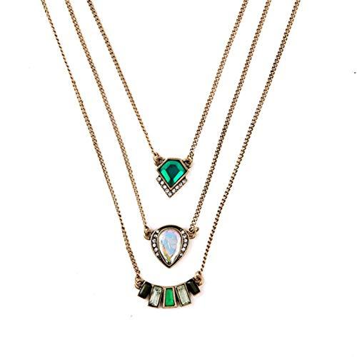 Collar con Capas de Esmeralda Vintage,ZBOMR Collares Barrocos Capas Cadena De Clavícula Boho Collares de Multicapa Esmeralda con Tachonado Diamantes Geométricos Accesorios para Mujer Niñas (Verde)