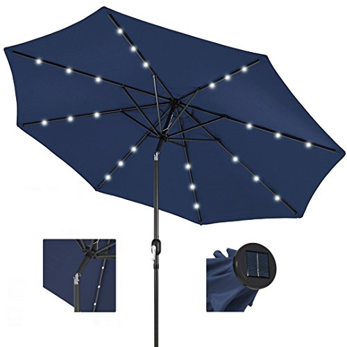 koonlert14 10ft Outdoor Patio Aluminium Umbrella Sunshade UV Blocking Pre-Installed Solar Power LED w/Hand-Crank and Tilt System - Navy #1901