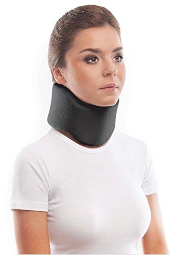 Collarín cervical ortopédico blando; soporte para el cuello, Alivio del Dolor y la Presión en la Columna Vertebral; para vértebras cervicales; 100% algodón Medium Negro