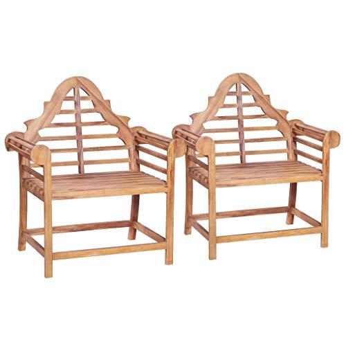 Festnight Gartenstühle 2 STK. | Holz Essstuhl | Outdoor Gartenstuhl | Rustikal Garten-Essstühle | Holzstuhl Gartensessel | Massiv Teakholz 91 x 62 x 102 cm
