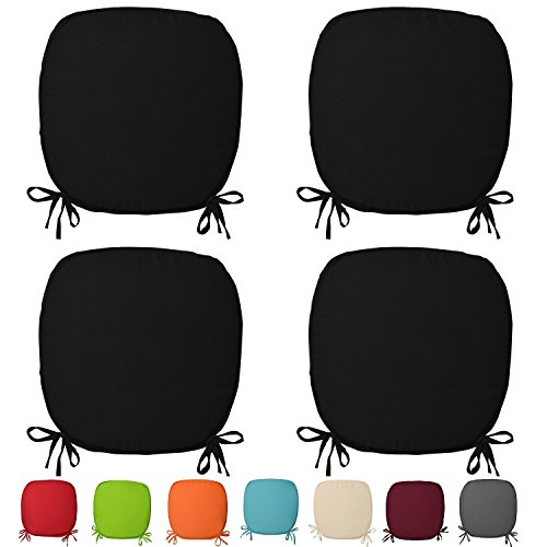 Set Of 4 Beautiful REMOVABLE Dining Garden Chair Cushion Seat Pads With Ties (Black)
