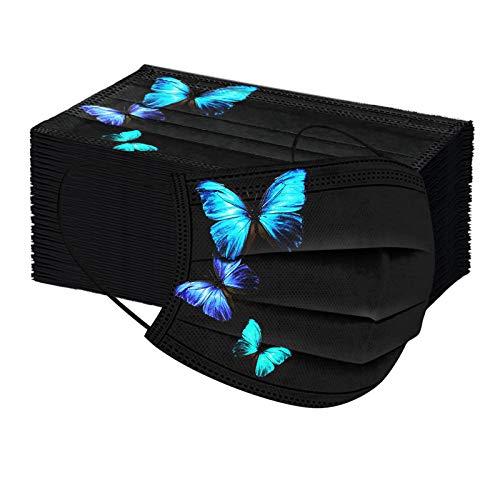 Bonitas No Tejido para Mujer, 50 Unidades Bandanas Faciales con Impresión De Posicionamiento De Mariposa para Interiores Y Exteriores