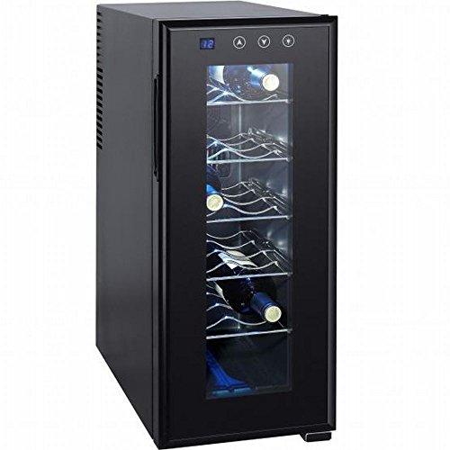 Syntrox 12 Flaschen Weinkühlschrank, Getränkekühlschrank mit LCD-Display und Touch-Screen - moderner Weinkühler für optimale Getränke Temperatur