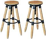HAO KEAI 2 x Taburetes de Bar Taburete de Barra elevada y Bajada 360 ° Cojín de Madera Set de 2 PCS Cocina Redondo CONTANTE Comercio Muebles Hight HABLIS (Color : Wood)