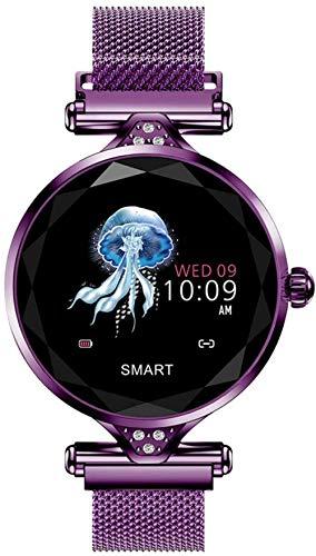 Reloj inteligente femenino de las mujeres Smartwatch Deporte Salud Fitness Monitor de ritmo cardíaco Podómetro Señora Reloj de Pulsera Para Android IOS iPhone-Púrpura