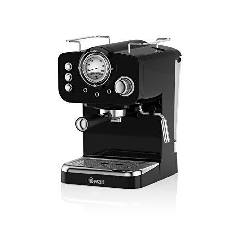 Swan Retro Pump Espresso Coffee Machine, Black, 15 Bars of Pressure, Milk Frother, 1.2L Tank, SK22110BN