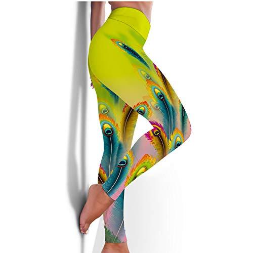 WJFGGXHK Damen Yoga Hosen Leggings,Pfauenfederdruck Hohe Taille Bauchkontrolle Push-Up Enge Athletic Pants Weiche Bequeme Elastische Schlanke Hose Für Sport Fitness Workout Running Gym Kleidung