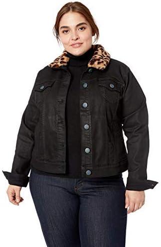 SLINK Jeans Women's Plus Size Zoey Black Coated Jacket