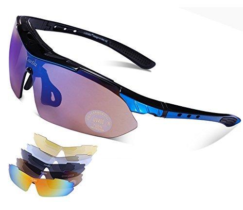 Carfia Multi TR90 UV 400 Outdoor Sport Brille Polarisiert Sonnenbrille Radbrille mit 5 wechselbare Linsen für Skilaufen Golf Radfahren Laufen Angeln Baseball,A