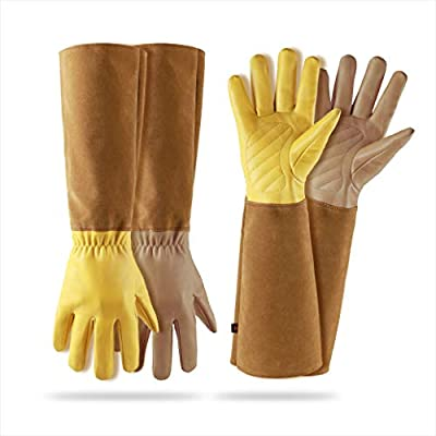 2 Pairs Rose Pruning Gloves for Women- Gardening Gloves & Cut Proof Elbow Length Durable Cowhide Leather Garden Work Gloves for Pruning Cacti Rose and Thorny Bushes Just women Size(Medium)
