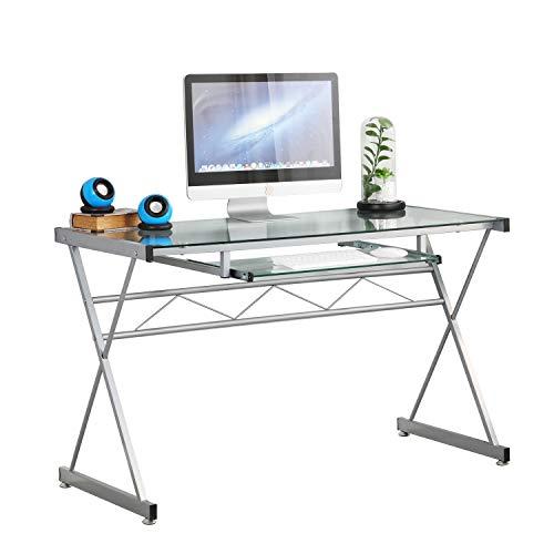 sogesfurniture Computertisch Schreibtisch mit Glasplatte, großer PC Laptop Tisch Bürotisch Arbeitstisch mit Tastaturablage, Metallgestell, 120*54.5*75 cm, BHEU-UT-093