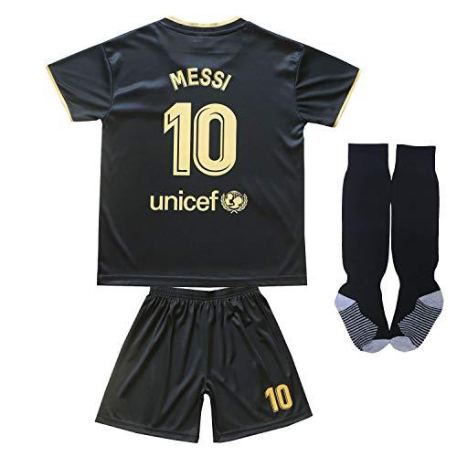 Da Games Youth Sportswear Messi No 10 Barcelona Kids Away Soccer Jersey/Shorts Football Socks Set (Black, 10-11 Years)