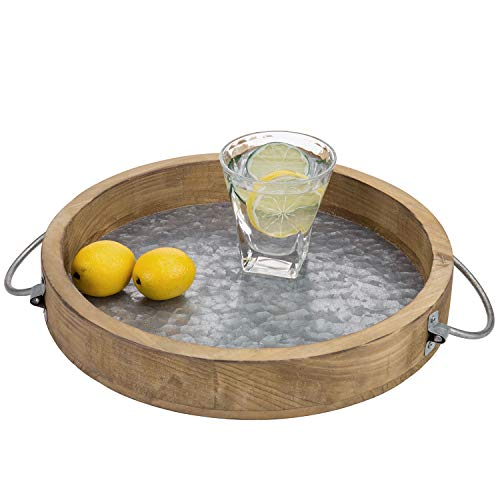 MyGift 12-inch Burnt Wood & Galvanized Metal Round Decorative Serving Tray with Handles