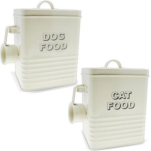 Bargains-Galore - Contenitore per cibo per gatti e cani, stile retrò, stile vintage, colore: panna
