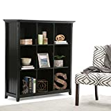 SIMPLIHOME Acadian SOLID WOOD 48 inch x 44 inch Rustic 9 Cube Bookcase and Storage Unit in Black with 9 Shelves, for the Living Room, Study and Office