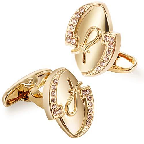 JFTMY Gemelos de Lujo de Novedad para Hombres Light Champagne Crystal Cuff Button Accessoire Mejor Regalo para la Boda (Color : Golden)