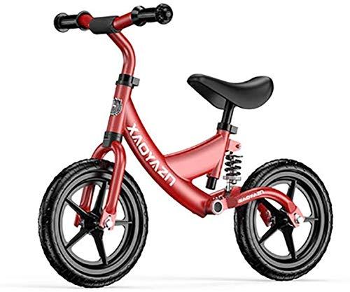 JSY 12 Pulgadas Adecuado for 2-6 años de Edad Balance Bicicleta amortiguación Aleación de Aluminio Sin Pedal Pedal Balance Deportes Portátil Portátil Bicicletas sin Pedales (Color : Red)