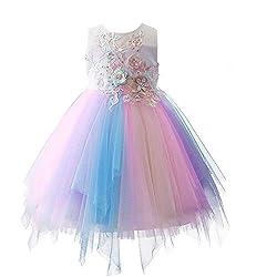 Z# Rainbow Flower White Cosplay Princess Dress With Rhinestones