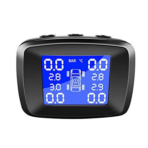YSHtanj Reifendruck-Monitor, Alarmanlagen und Sicherheits-Reifendruck-Monitor, digital, LCD, USB-Ladegerät, Solar-TPMS für Auto, Reifen, Luftdruck-Sensor, Monitor, System – Schwarz