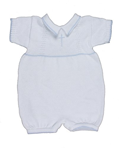 Blue 100% Cotton Baby Boy's Infant Christening Baptism Romper w/Cross Newborn