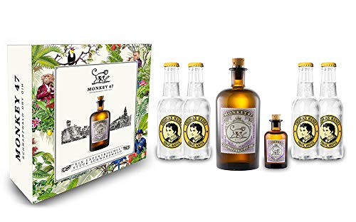 Monkey 47 Gin Tonic Set/Geschenkset - Monkey 47 Schwarzwald Dry Gin 500ml + 50ml(47% Vol) + 4x Thomas Henry Tonic Water 200ml - Inkl. Pfand MEHRWEG