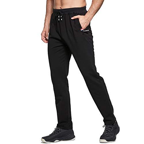 Tansozer Jogginghose Herren Baumwolle Sporthose Lang Ohne Bündchen mit reißverschluss Taschen Schwarz L