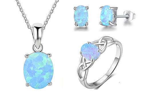 DYFUHO Conjuntos De Joyas para Mujer Plata De Ley 925, Ópalo Ovalado Azul Regalo De Los Amantes De La Joyería (Anillos Cadena Collares Pendientes)
