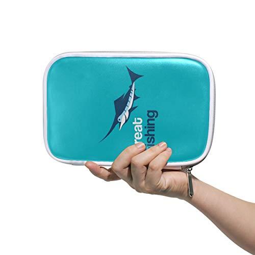 Logo Met Vis Op Blauwe Potlood Case Cosmetische Tas Grote Capaciteit Organizer Make-up Koppeling Tas voor Travel School