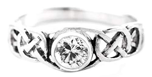 WINDALF Celtic Damenring TÂMIA 6 mm Diamant Kristall Freundschaftsring 925 Sterlingsilber (Silber, 52 (16.6))